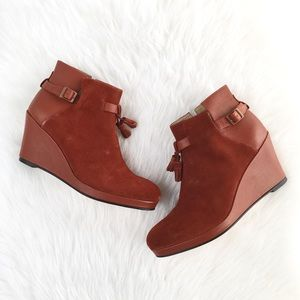"Wolverine ""Parris"" Brick Suede Leather Wedge Boots"
